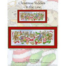 Joan Elliott - Christmas Teddies on the Line