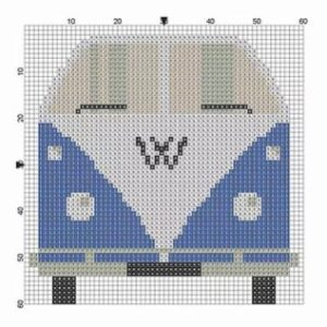 Wooden Wall Art Block VW Bus Blue