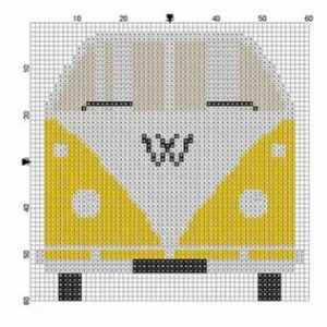 Wooden Wall Art Block VW Bus Yellow
